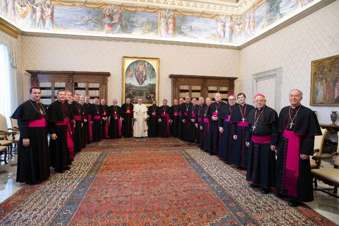 San Angelo Bishop Michael Sis, along with Bishop Emeritus Michael Pfeifer and the other bishops of the dioceses of Texas, Oklahoma, and Arkansas, met with Pope Francis in the Papal Apartments of the Vatican, Jan. 20, 2020, during the Ad Limina visit by the bishops of Region Ten.