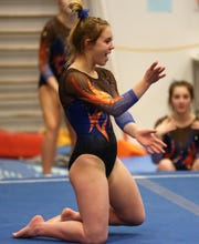 San Angelo Central High School's Madison Vogel won the all-around title in a showdown against Euless Trinity at the James R. White Gymnastics Center on Thursday, Jan. 30, 2020.