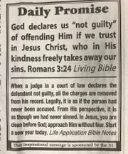 The Daily Promise has been published in the San Angelo Standard-Times since March 1990, and was started by Ernestine Scott.
