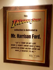Indiana Jones enthusiast credits Actor Harrison Ford with helping Michael T. MIller find his path in life on Jan. 30, 2020, in Sheboygan, Wis.