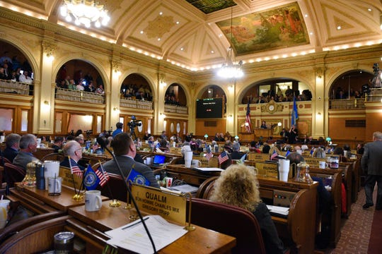 Legislators fill the House Chamber on Tuesday, Jan. 14, at the State Capitol in Pierre.
