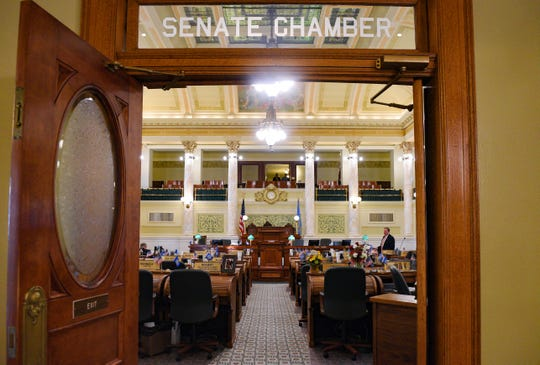 The Senate Chamber door is open on Tuesday, Jan. 14, at the State Capitol in Pierre.