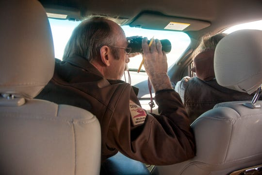 Keith Day and Jess Kinross, wildlife biologists for the Utah Division of Natural Resources, survey raptors in the Iron County area Thursday, Jan. 30, 2020.