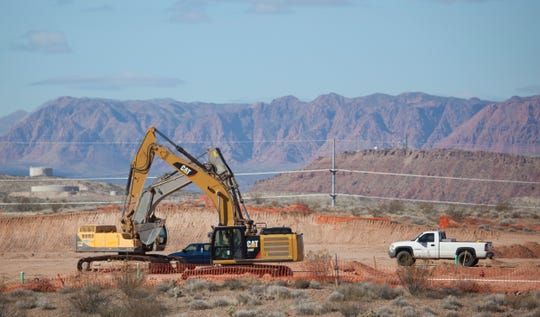 Construction continues in the Desert Canyons development area of St. George on Thursday, Jan. 30, 2020. The southern section of St. Goerge, still largely undeveloped, is pegged for largescale growth in the coming decade as new sections of the city spring up out of the desert surroundings.