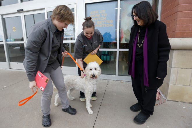 Petco groomer Mariah Shidell (left), salon manager Carly Czaikowski (center) accept a thank you card from Laura McPartland on Friday, January 31, 2020, at Petco in Plover, Wis. Shidell noticed what was found to be a cancerous tumor on the paw of McPartland's golden doodle, Macy (pictured), paw on January 27. McPartland said that the cancer was caught early and credits Shidell for saving Macy's life. 