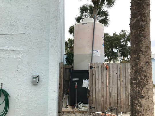 Vero Beach Pool Supply, Inc. employee said a man was filling a pressure washer container from this chlorine storage tank when the pressure washer burst causing nearby residents to call 911.