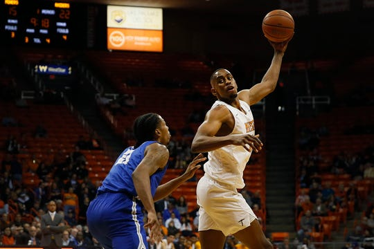 UTEP's Bryson Williams goes against Middle Tennessee defense during the game Thursday, Jan. 30, at the Don Haskins center in El Paso.