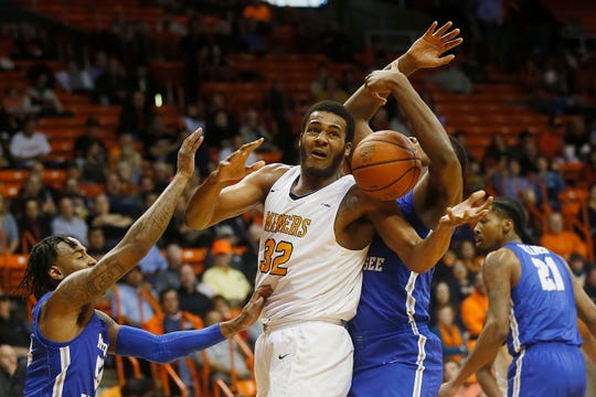 UTEP's Efe Odigie attempts to gain control of the ball against Middle Tennessee during the game Thursday, Jan. 30, at the Don Haskins center in El Paso.