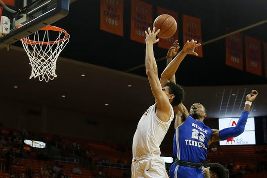 UTEP's Tydus Verhoeven attempts to take a shot against Middle Tennessee's C.J. Jones during the game Thursday, Jan. 30, at the Don Haskins center in El Paso.