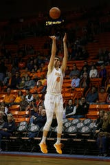 UTEP's Eric Vila takes a shot against Middle Tennessee during the game Thursday, Jan. 30, at the Don Haskins center in El Paso.