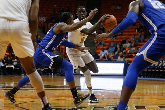 UTEP's Souley Boum goes against Middle Tennessee defense during the game Thursday, Jan. 30, at the Don Haskins center in El Paso.