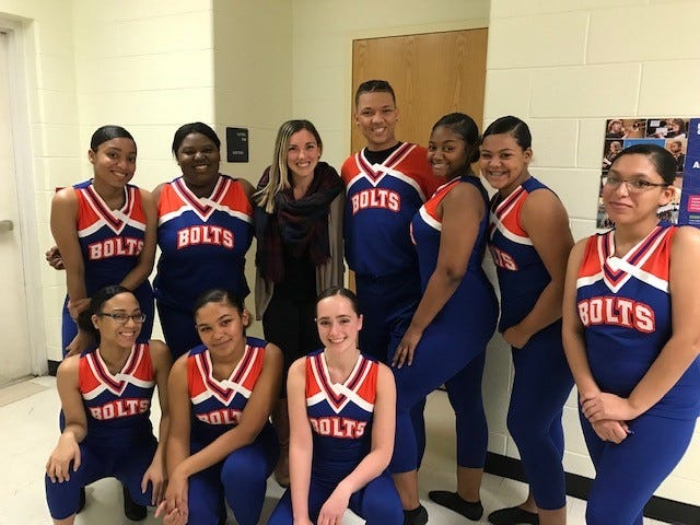 Millville High School Dance Team – (Front row, from left) Armani Bordois-Hall, Tamera Clybourn, Alyssa Robinson; and (back row, from left) Arnasia Hall, India Allen, Rachel Migliaccio, dance coach/teacher, Neal Hansley, Nia Thomas, Kendall Sooy, and Diamond Mooney, recently performed in its first showcase.