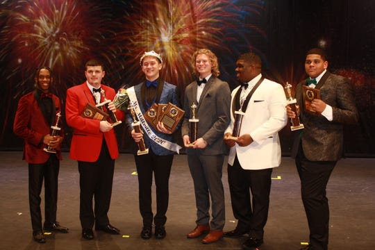 (From left) Sincere Harris, Carter Crockett, Bobby Williams – Mr. Millville 2020, Nathan Goranson, Tyrell Dunn and Jared Kinlaw were the award winners for the Mr. Millville 2020 contest at Millville High School.