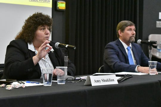Incumbent Amy Shuklian speaks during a Tulare County Board of Supervisors District 3 forum Thursday night at  College of the Sequoias' Ponderosa Hall in Visalia.
