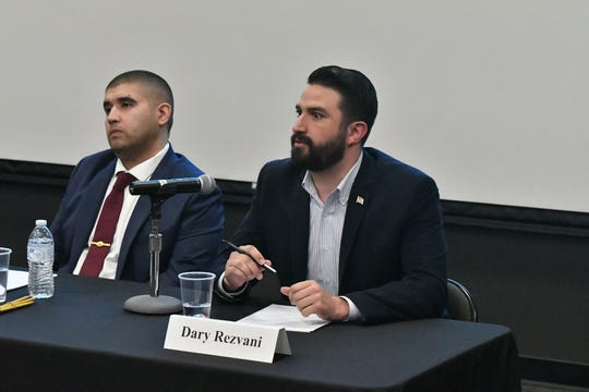 Democratic candidate Dary Rezvani speaks during a U.S. House of Representatives CA-22 forum Thursday night at  College of the Sequoias' Ponderosa Hall in Visalia.