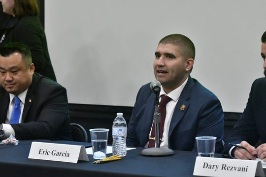 Independent Eric Garcia, a candidate for the U.S. House of Representatives CA-22 seat, speaks during a forum Thursday night at College of the Sequoias' Ponderosa Hall in Visalia.