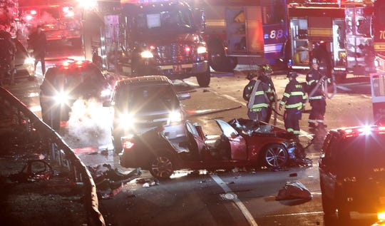 Firefighters from White Plains, Purchase and Port Chester extricated several people from an accident on I-287 in White Plains Jan. 30, 2020.