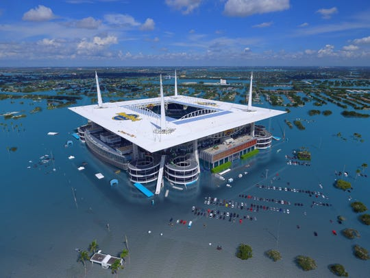 An aerial image of the Hard Rock Stadium, home to the Miami Dolphins, is shown with an additional 1.5 feet of water during a flood event at 6 feet above the local high tide line. Water could reach this level through a combination of sea-level rise, tide, and storm surge.