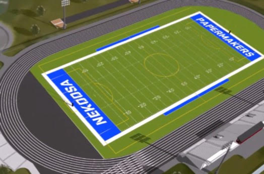 A rendering of proposed upgrades to the track and field at Nekoosa High School.