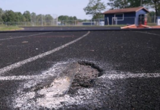 """The track at Nekoosa High School has been deemed """"unusable"""" by the school district."""