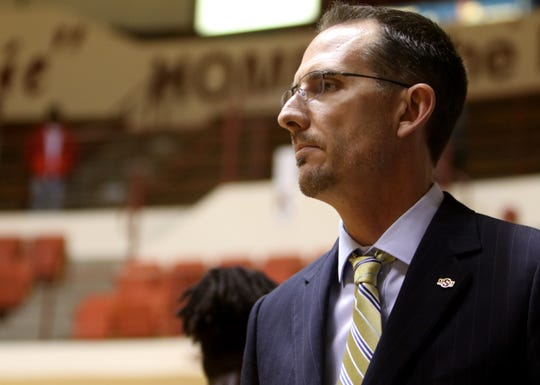 Midwestern State head basketball coach Justin Leslie in the game against Texas A&M-Kingsville Thursday, Jan. 30, 2020, in D.L. Ligon Coliseum.