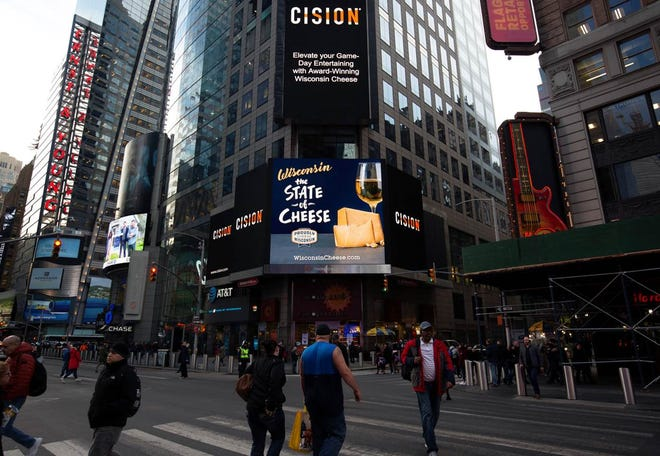 Wisconsin cheese is featured on the PWC billboard in NYC's Times Square.