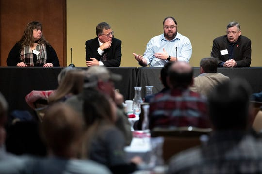 From left, Dawn Thilmany, professor of agricultural and resource economics at Colorado State University, Paul Mitchell, professor of agricultural and applied economics at UW–Madison, Tyler Mark, assistant professor of production economics at the University of Kentucky, and Ted Haney of the Canadian Hemp Trade Alliance, speak during a question and answer panel at the Renk Agribusiness Institute's Agricultural Outlook Forum held at Union South on the campus of UW–Madison in Madison, Wis., Tuesday, Jan. 28, 2020.\r\rPhoto by Michael P. King/UW–Madison CALS