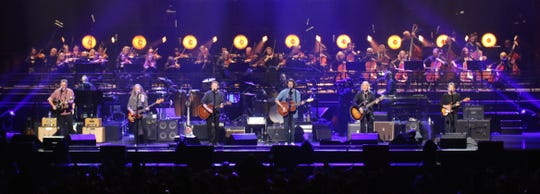 "Eagles members Vince Gill, Timothy B. Schmit, Don Henley, Deacon Frey and Joe Walsh during a ""Hotel California"" concert in Las Vegas in October 2019."