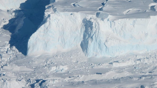 The outer edge of the Thwaites Glacier. As the glacier flows into the ocean, it becomes sea ice and drives up sea-level. Thwaites Glacier's ice is flowing particularly fast, and some researchers believe it may have already tipped into instability or be near that point.