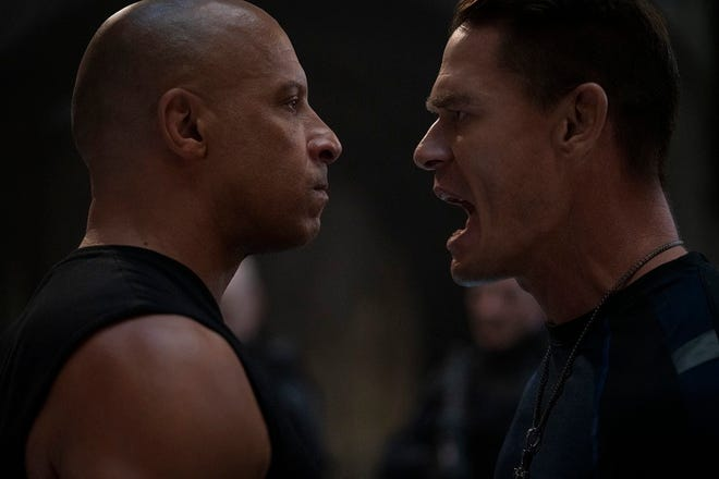 "(from left) Dom (Vin Diesel) and Jakob (John Cena) in ""F9,"" directed by Justin Lin."