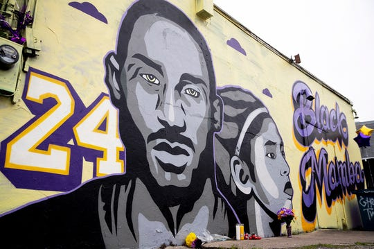 A new tribute mural honoring Kobe Bryant and his daughter, Gianna, in Austin. The mural, located on Guadalupe Street, was created by Texas-based artist Laced and Found with help from Snuk One and Riki Loring.