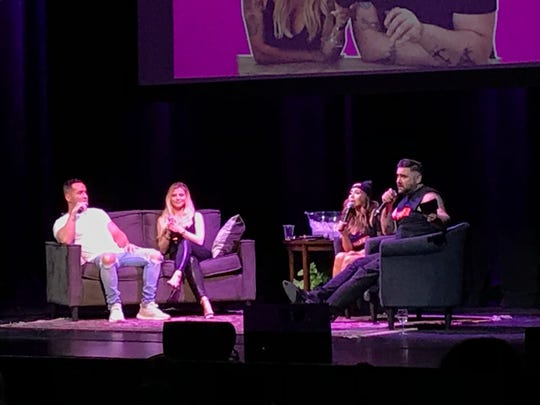 """Mike 'The Situation' Sorrentino, Lauren Sorrentino, Nicole 'Snook"""" Polizzi and Joey Camasta Jan. 31, 2020 at the Mayo Performing Arts Center in Morristown."""