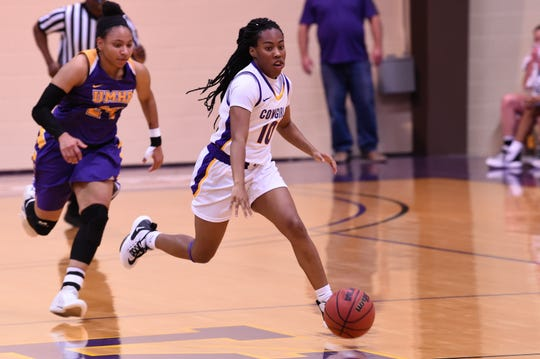 Hardin-Simmons guard Taylor Gaffney (10) brings the ball down the court against No. 13 Mary Hardin-Baylor at the Mabee Complex on Saturday. Gaffney scored 10 points in the win as the Cowgirls improved to 11-0 at home and took over first place in the ASC West.