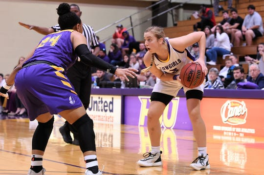 Hardin-Simmons' Parris Parmer (3) holds the ball against No. 13 Mary Hardin-Baylor at the Mabee Complex on Saturday. Parmer scored what ended up being the game-winning points in the 67-64 victory with 1:11 left to play.