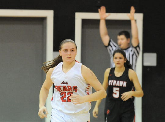 Baird's Kortni Morton (22) jogs up the court after hitting a 3-pointer in the fourth quarter against Strawn on Friday, Jan. 31, 2020, at the Bears Den in Baird.