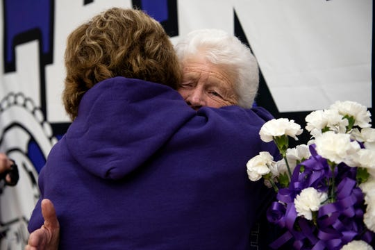 Marlene Beard embraces her daughter Debbie as they honor Gary Beard on Friday, Jan. 31, 2020 at Lakeview High School in Battle Creek, Mich. Former athletic director and coach Gary Beard, known as 'Mr. Spartan' passed away Saturday from congestiveheart failure.
