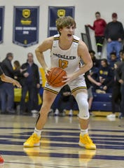 Will McCracken of Moeller calls a play against La Salle at Moeller High School, Friday, Jan. 31, 2020