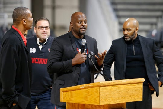 Terry Nelson, and members of the 1992 Bearcats team speak of their former coach during a memorial service for former University of Cincinnati basketball player, coach and broadcaster Chuck Machock at Fifth Third Arena in Cincinnati on Friday, Jan. 31, 2020.