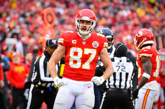 Jan. 12, 2020: Kansas City Chiefs tight end Travis Kelce (87) celebrates during the second quarter against the Houston Texans in a AFC Divisional Round playoff football game at Arrowhead Stadium.