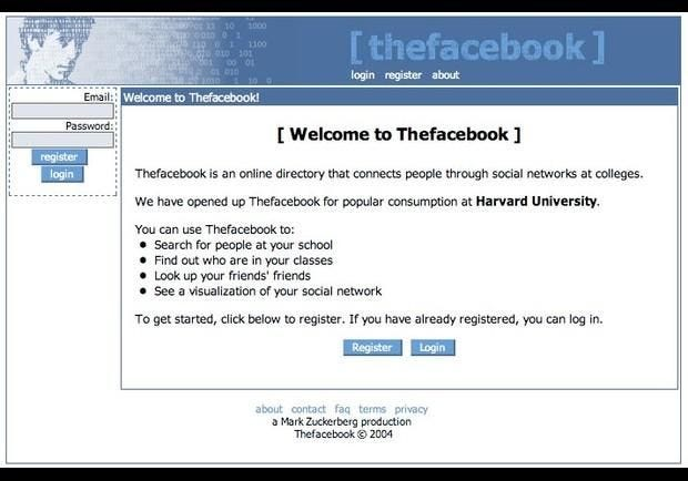 A screen of the original Facebook, then known as Thefacebook, started by Mark Zuckerberg in 2004.