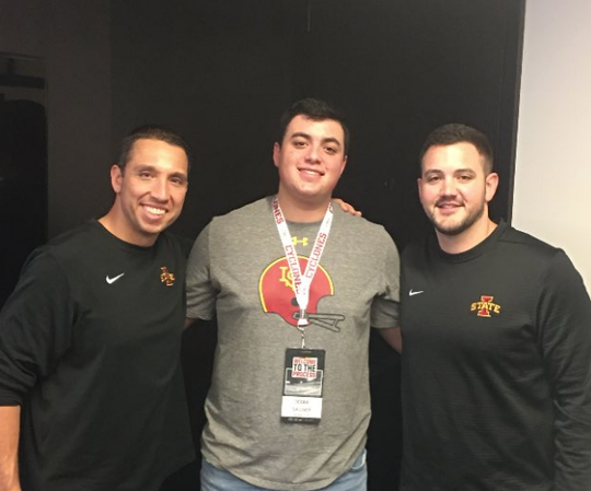 Dodge Sauser (middle) is Iowa State's first 2021 football recruit.
