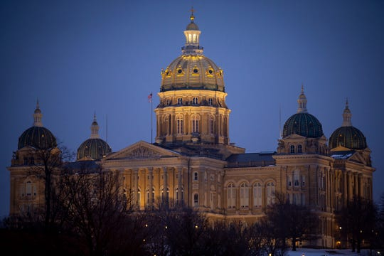 The Iowa State Capitol building on Friday, Jan. 31, 2020, in Des Moines.