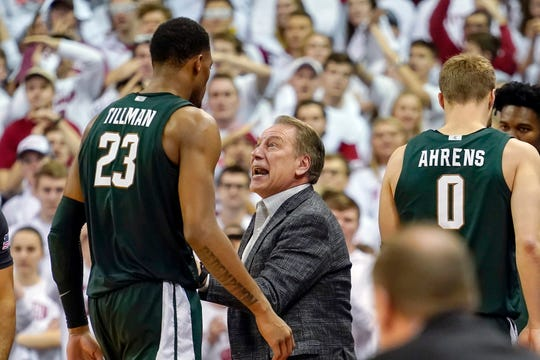 Michigan State coach Tom Izzo talks with Xavier Tillman during the second half of MSU's 64-63 loss to Wisconsin on Saturday, Feb. 1, 2020, in Madison, Wisconsin.