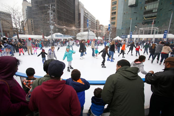 Ice skating at Campus Martius Park is free during Winter Blast.