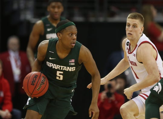 Michigan State guard Cassius Winston dribbles the ball as Wisconsin guard Brevin Pritzl defends during MSU's 64-63 loss to Wisconsin on Saturday, Feb. 1, 2020, in Madison, Wisconsin.
