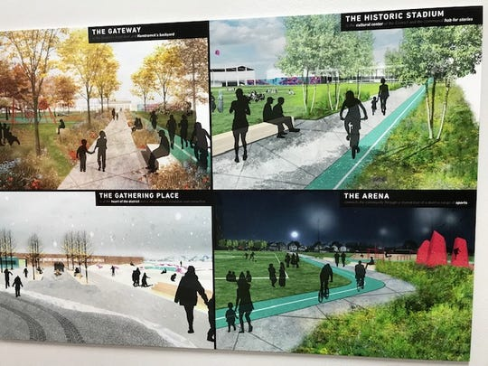 Renderings were displayed during the community meeting Friday night.