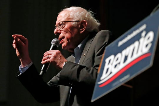 Democratic presidential candidate Sen. Bernie Sanders, I-Vt., speaks during a rally at the Ames City Auditorium in Ames, Iowa., Jan. 25, 2020.