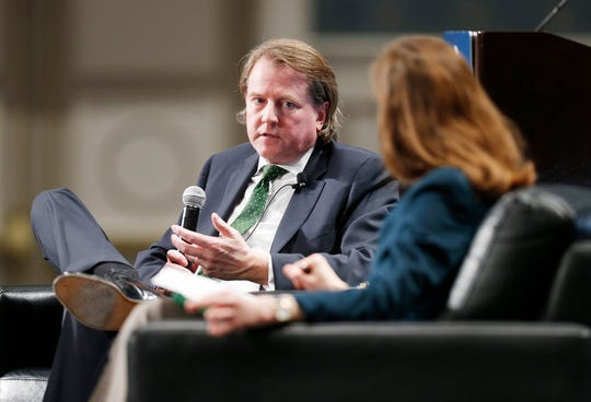 Former White House Counsel Donald F. McGahn, left, talks with Jan Crawford, Chief Legal Correspondent with CBS News during a session at the Federalist Society Sixth Annual Florida Chapters Conference held at Disney's Yacht and Beach Club Resorts in Lake Buena Vista, Fla. on Friday, Jan. 31, 2020.