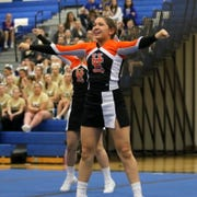 Union-Endicott varsity cheerleaders compete in Division 1 at the Southern Tier Athletic Conference Winter Cheerleading Championships on Feb. 1, 2020 at Horseheads Middle School. U-E took the Division 1 title.