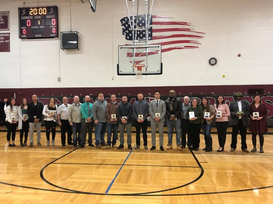 Some inductees and family members of others at a ceremony honoring inductees into the Elmira High School, Elmira Southside and Elmira Free Academy halls of fame Jan. 31, 2020 at Elmira High.